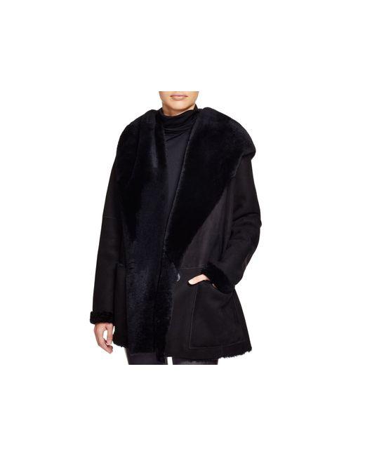 VINCE | Black Hooded Shearling Coat | Lyst