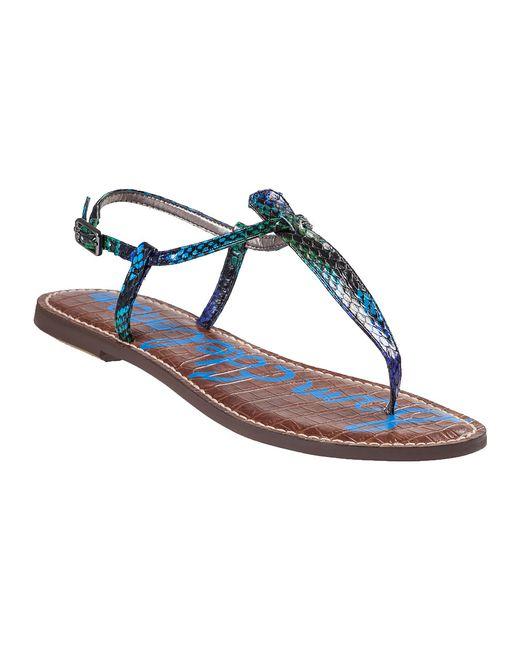 Sam Edelman | Blue Gigi Flat Sandal Swamp Green Snake | Lyst
