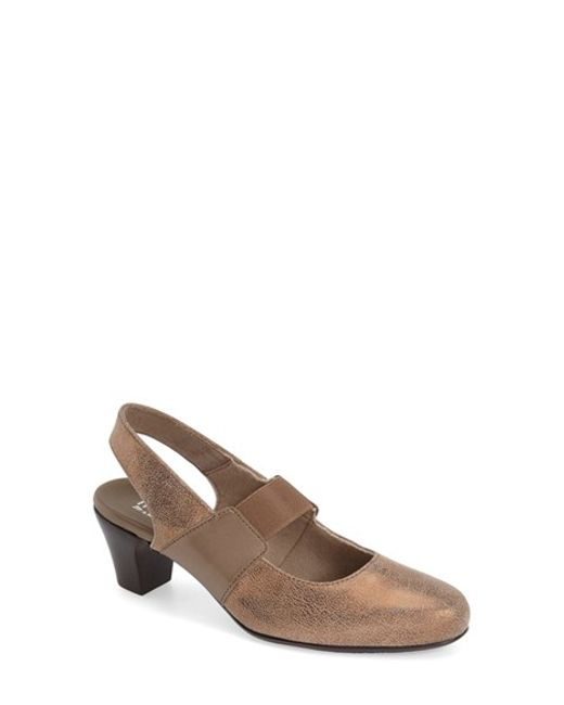 Munro | Brown Ella Faux-Suede Slingback Pumps | Lyst