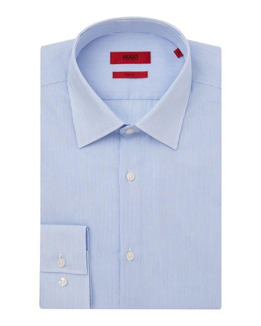 HUGO   Blue Slim Fit Business Stripe Shirt for Men   Lyst