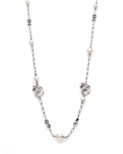 John Hardy | Metallic Naga 10.5mm White Pearl, Ruby & Sterling Silver Dragon Sautoir Necklace | Lyst
