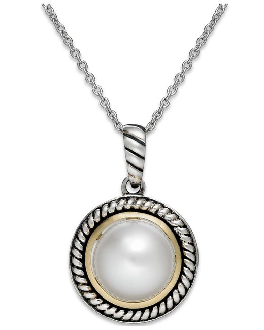 Macy's | Metallic Cultured Freshwater Pearl Rope Pendant Necklace In Sterling Silver And 14k Gold (10mm) | Lyst