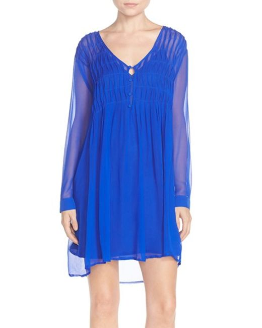 Charlie Jade Silk And Chiffon Shift Dress In Blue COBALT Lyst