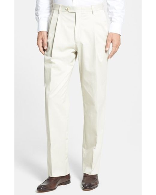 Berle | Natural Pleated Cotton Trousers for Men | Lyst
