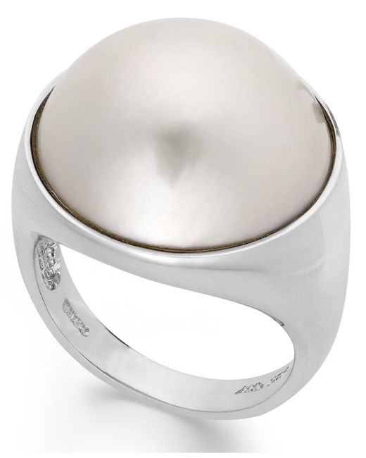 Macy's | Metallic Cultured Freshwater Pearl Mabe Ring In Sterling Silver (17mm) | Lyst
