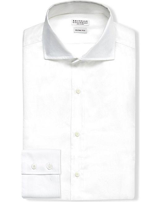 Brunello Cucinelli   Slim-fit Cotton-twill Shirt, Men's, Size: M, White for Men   Lyst