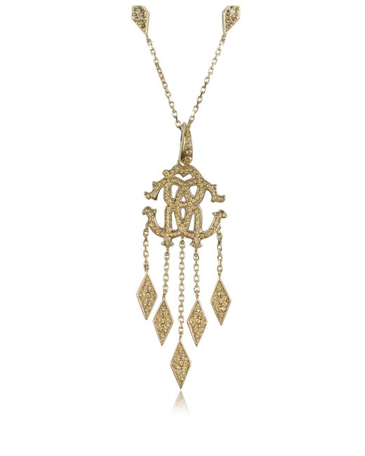 Roberto Cavalli   Gold Rc Luxe Metal Pendant Necklace W/crystals   Lyst