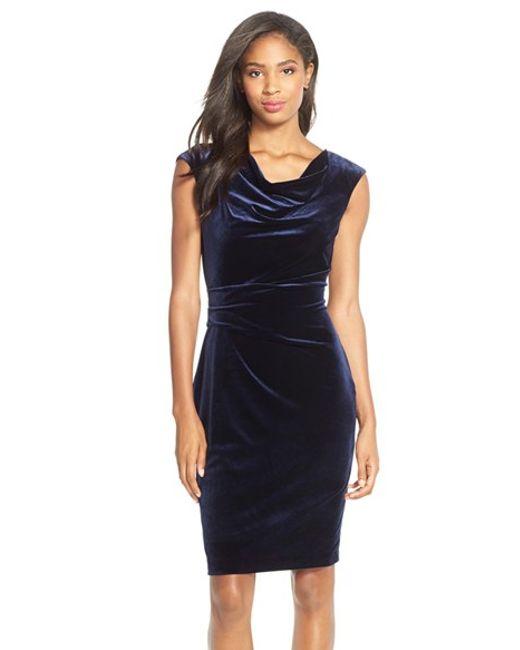 Cowl Neck Sheath Dresses: Vince Camuto Cowl-Neck Velvet Sheath Dress In Blue (NAVY