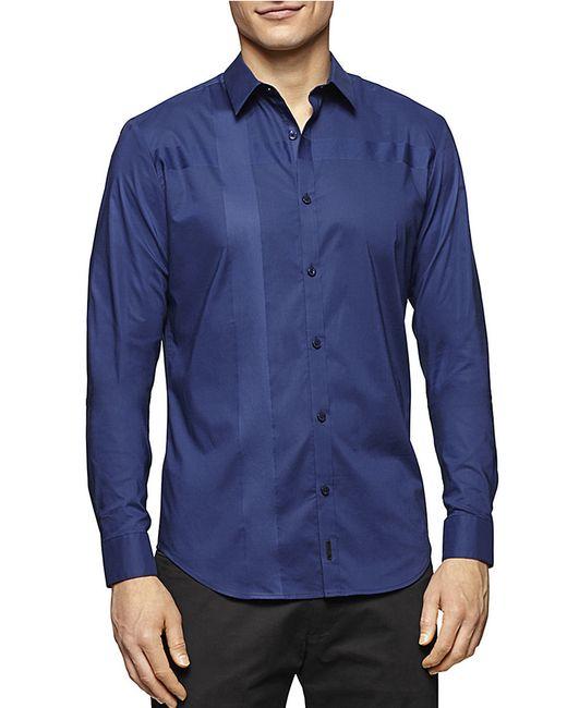 Calvin Klein | Blue Satin Striped Sportshirt for Men | Lyst