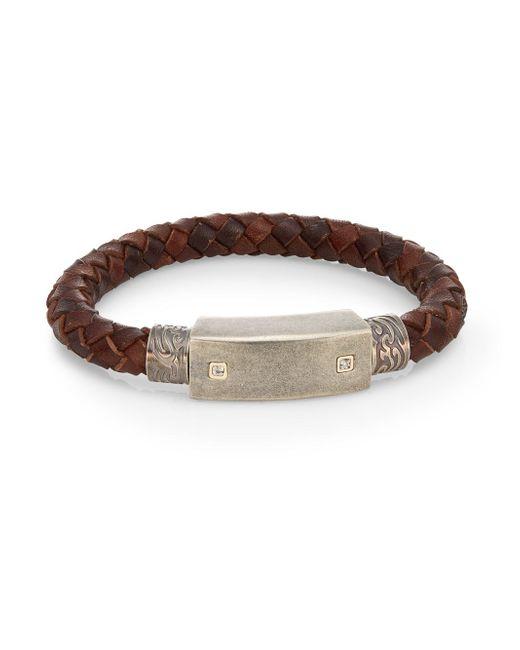Saks Fifth Avenue | Brown 0.02 Tcw Diamond, Stainless Steel & Leather Cord Bracelet | Lyst