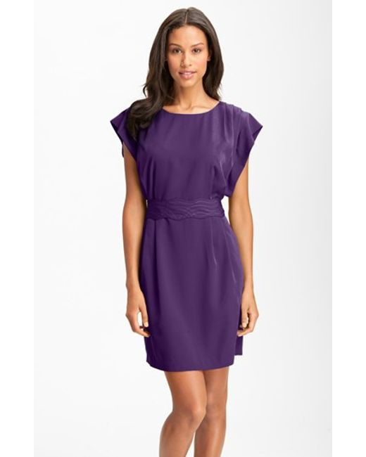 Eliza J | Purple Sash-Belt Crepe Dress | Lyst