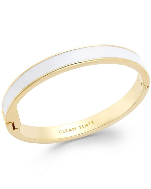 kate spade new york | Metallic Gold-tone White Clean Slate Idiom Bangle Bracelet | Lyst