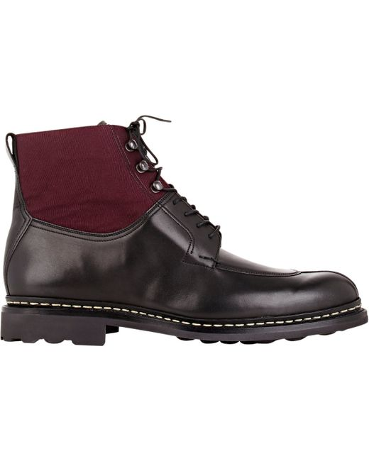 heschung ginko leather and canvas ankle boots in black for