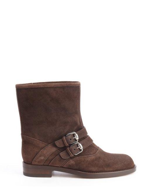 gucci cocoa suede margarett flat boots in brown cocoa