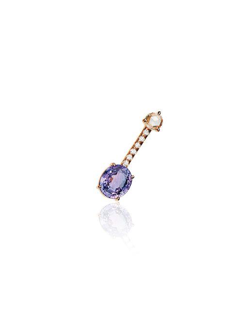 Jemma Wynne | Single Bar Stud Earring With Oval Cut Purple Sapphire | Lyst