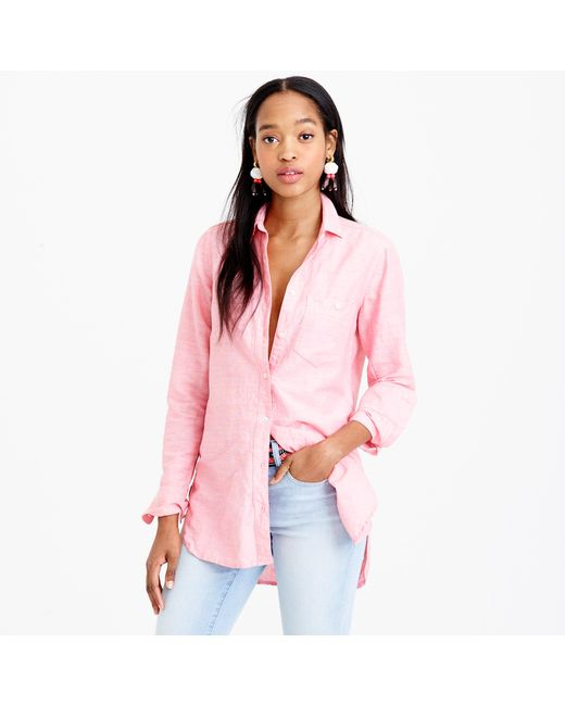 J.Crew | Pink Long Cotton-linen Boy Shirt In Crosshatch | Lyst