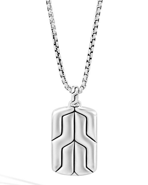 John Hardy | Metallic Silver Box Chain Dog Tag Necklace for Men | Lyst