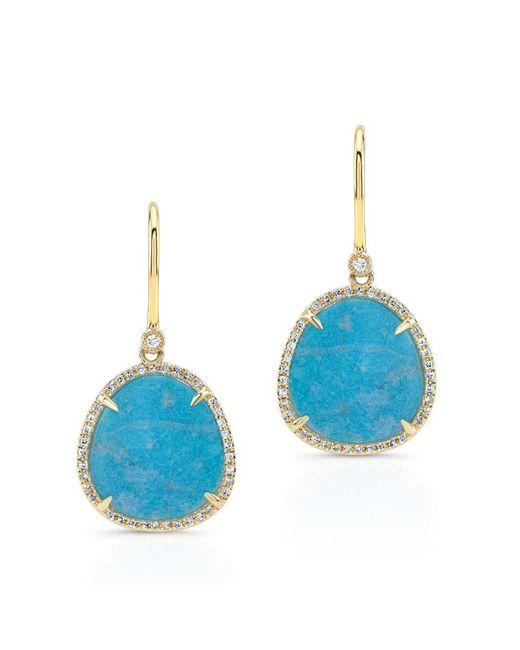 Anne Sisteron | 14kt Yellow Gold Blue Apatite Diamond Mini Organic Earrings | Lyst