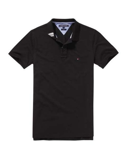 tommy hilfiger black slim fit short sleeve polo shirt for men lyst. Black Bedroom Furniture Sets. Home Design Ideas