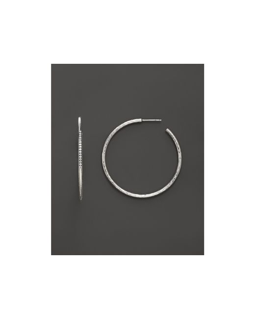 Ippolita | Metallic Sterling Silver Hammered Hoops With Diamonds, .19 Ct. T.w. | Lyst