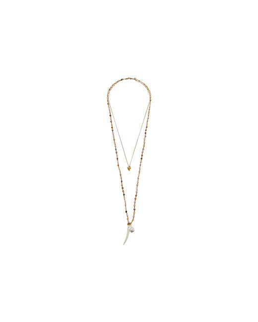 "Chan Luu | Metallic 34"" Double Strand Necklace W/ Shark Tooth Charm | Lyst"