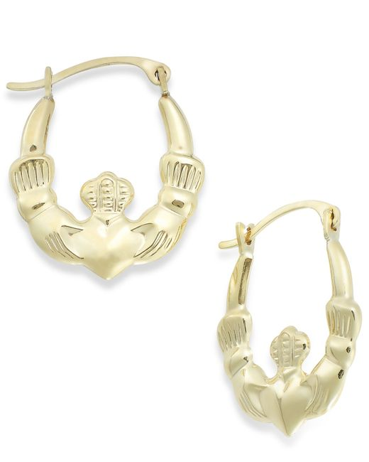 Macy's | Metallic Claddagh Hoop Earrings In 10k Gold, 16mm | Lyst