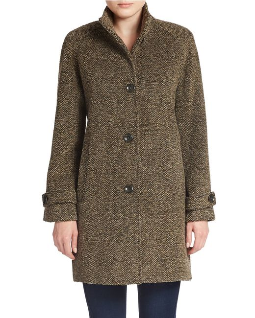 Jones New York | Blue Single-breasted Wool-blend Coat | Lyst