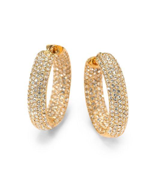 """Adriana Orsini   Metallic Pavà Crystal & 18k Goldplated Inside-outside Hoop Earrings/0.75""""   Lyst"""