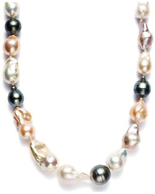 Macy's | White Pearl Necklace, Sterling Silver Cultured Tahitian And Multicolor Freshwater Pearl Baroque Necklace (9-11mm) | Lyst