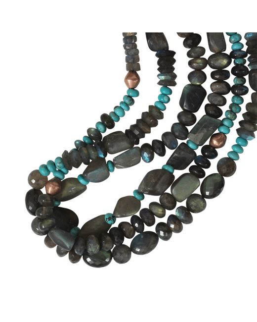 Royal Nomad Jewelry | Blue Three Strand Labradorite And Turquoise Necklace | Lyst