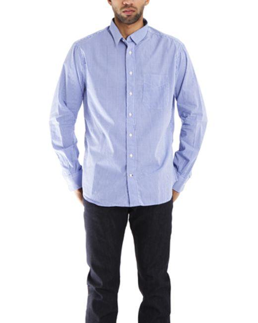 Blue cream blue macro check gingham button down shirt in for Blue gingham button down shirt