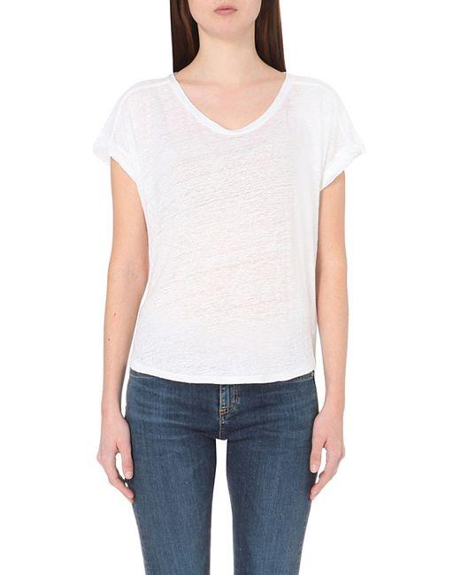 Rag bone cargo linen t shirt in white bright white lyst for Rag and bone white t shirt