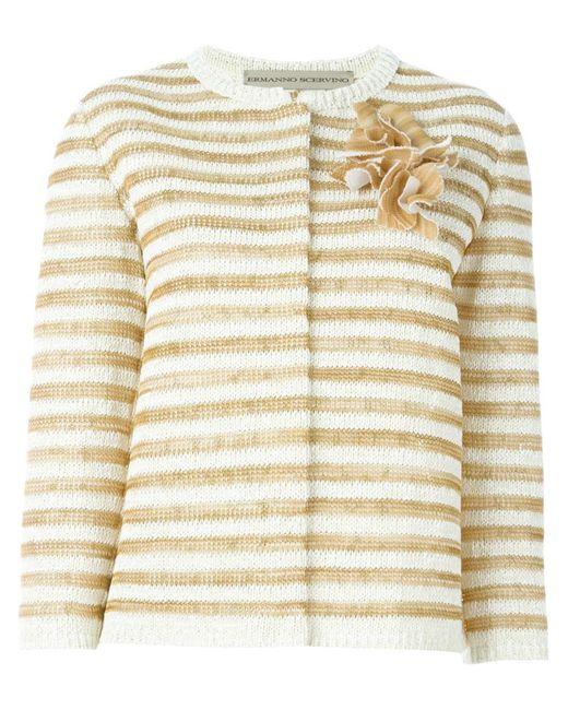 Ermanno scervino Flower Appliqué Striped Cardigan in Gold