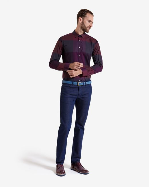 Ted Baker | Red Checked Cotton Shirt for Men | Lyst
