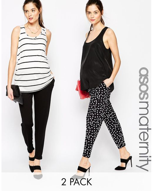 ASOS | 2 Pack Jersey Peg Pants In Plain Black And Polka Dot Save 25% | Lyst