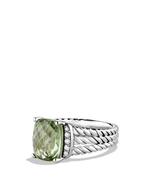 David Yurman | Metallic Petite Wheaton Ring With Prasiolite And Diamonds | Lyst