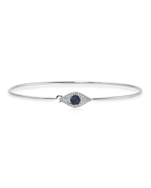 Anne Sisteron | Metallic 14kt White Gold Sapphire And Diamond Evil Eye Latch Bracelet | Lyst