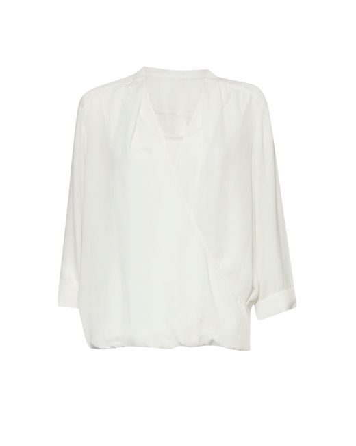 Great Plains | White Cara Crepe Wrap Top | Lyst