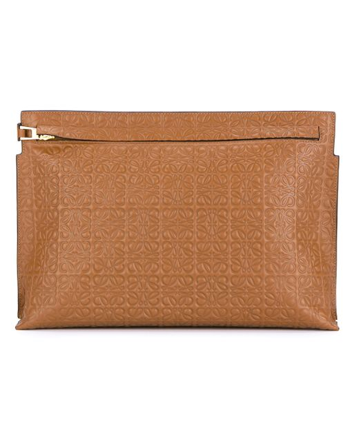 Loewe | Brown Large Leather Logo Pouch | Lyst