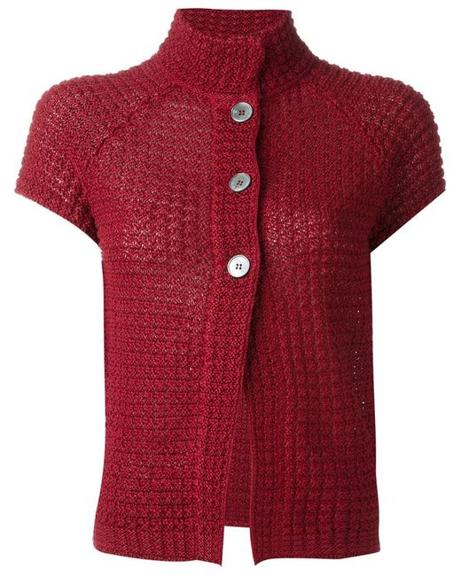 Knitting Pattern For Short Sleeved Jacket : Eleventy Short Sleeve Knit Jacket in Red - Save 21% Lyst