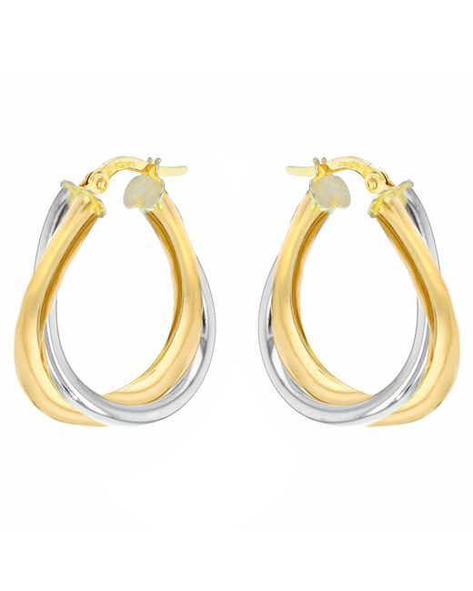 Ib&b | Metallic 9ct Gold Two Colour Twined Creole Earrings | Lyst
