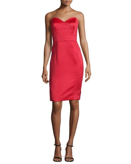 MILLY   Red Marta Strapless Duchess Satin Dress   Lyst