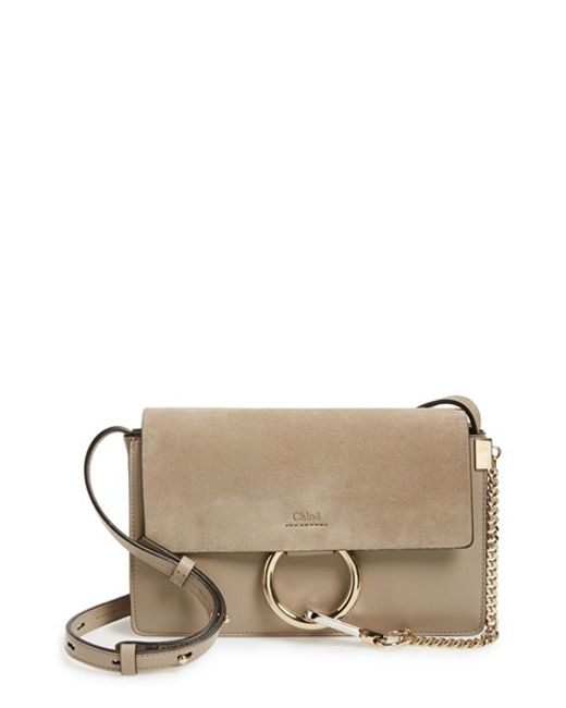 chloe faye small studded circle suede leather shoulder bag
