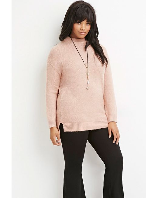 Forever 21 | Pink Plus Size Longline Fuzzy Sweater | Lyst