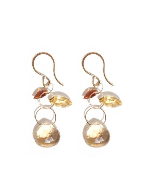 Melissa Joy Manning | Metallic Three Drop Citrine And Champagne Quartz Earrings | Lyst