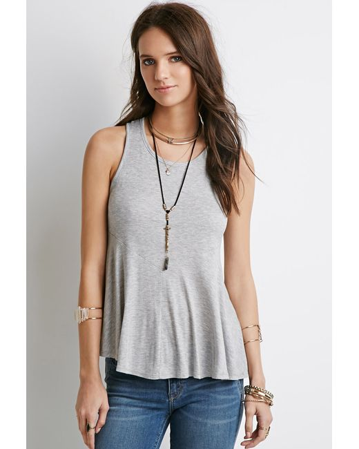 Forever 21 | Gray Ribbed Trapeze Tank | Lyst