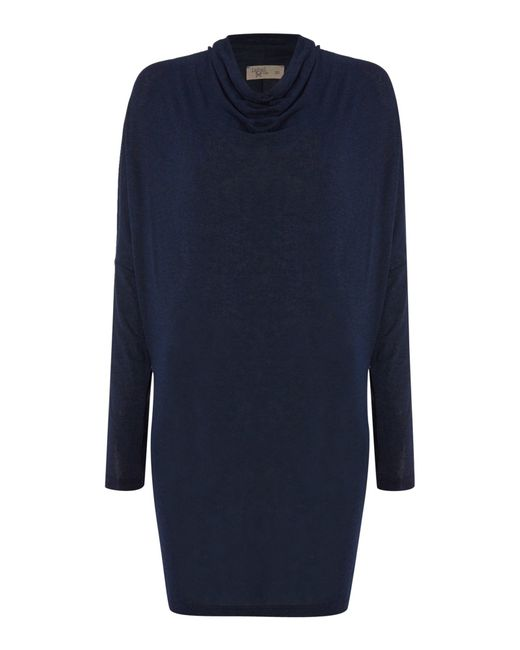 Label Lab | Blue Jersey Knit Cowl Long Sleeve Dress | Lyst