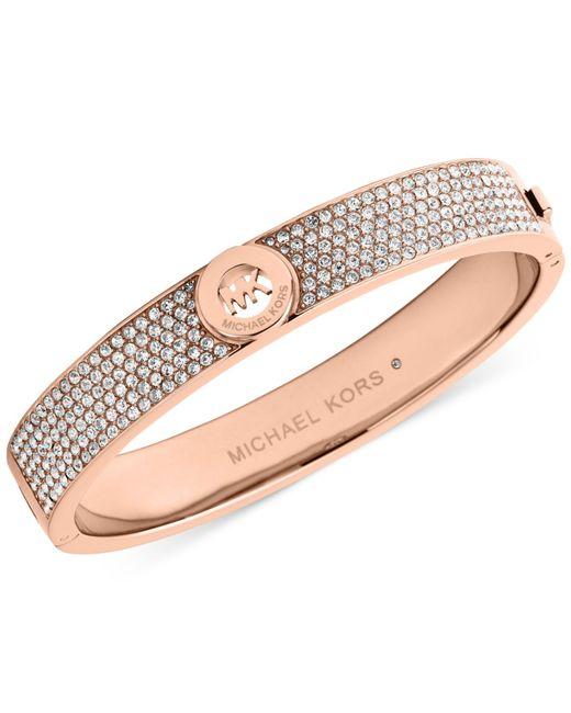 Michael Kors | Pink Crystal Pave Logo Bangle Bracelet | Lyst