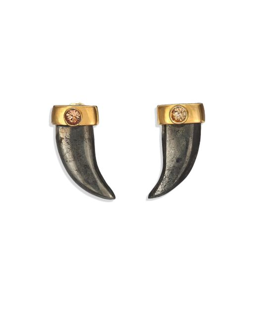 House of Lavande | Metallic Batari Pyrite & Crystal Horn Stud Earrings | Lyst