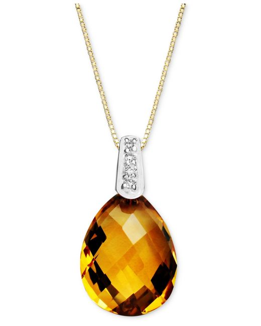 Macy's | Metallic 14k Gold Necklace, Citrine (4-3/4 Ct. T.w.) And Diamond Accent Pear Brio Drop Pendant | Lyst